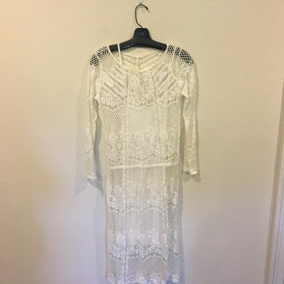 8f0aab2fa5b Free People Dresses | White Lace Overlay Dress | Poshmark